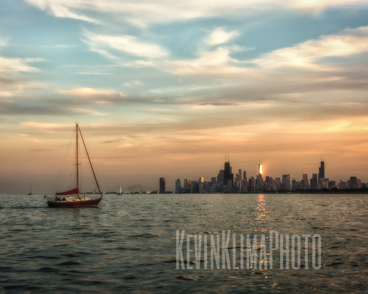 Soft Chicago Skyline at Dusk