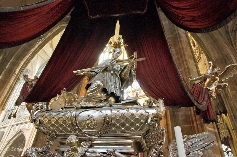 Silver tomb of St. John of Nepomuk weighs 3700 Lbs,  in St. Vitus Cathedral