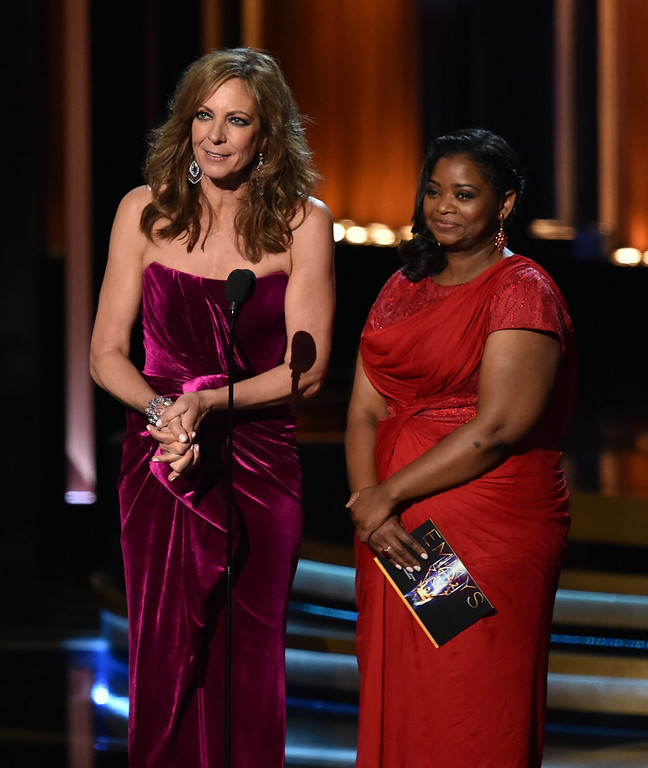 . Actresses Allison Janney (L) and Octavia Spencer speak onstage at the 66th Annual Primetime Emmy Awards held at Nokia Theatre L.A. Live on August 25, 2014 in Los Angeles, California.  (Photo by Kevin Winter/Getty Images)