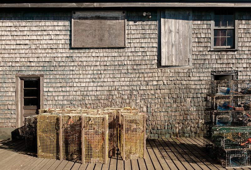 Lobster Pots and Cedar Shake Clad Building