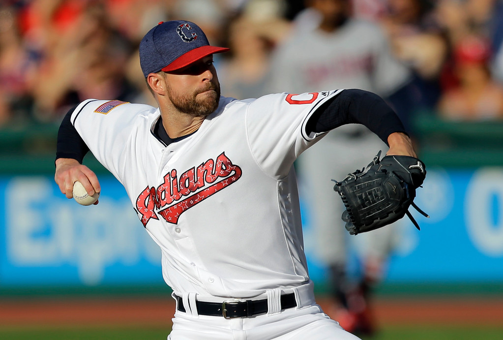 . Cleveland Indians starting pitcher Corey Kluber delivers in the first inning of a baseball game against the San Diego Padres, Tuesday, July 4, 2017, in Cleveland. (AP Photo/Tony Dejak)