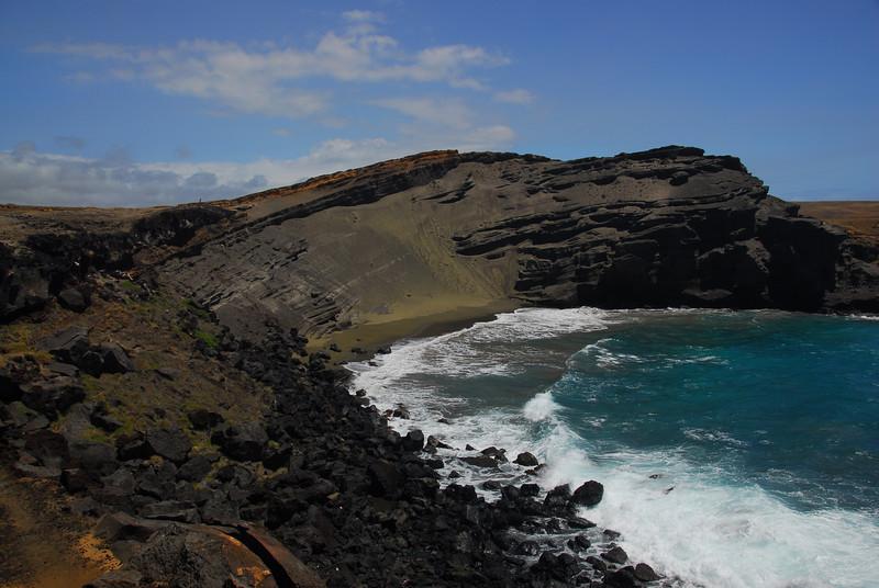 Green sand beach in South Point, Hawaii