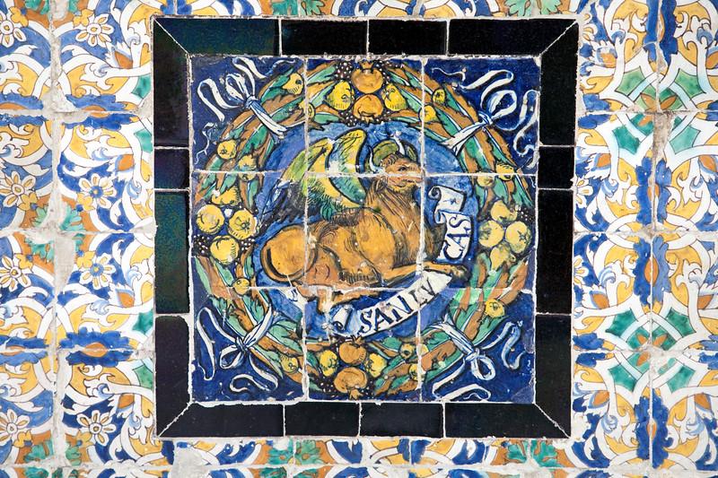Saint Luke on old glazed ceramic tiles, Fine Arts Museum, Seville, Spain