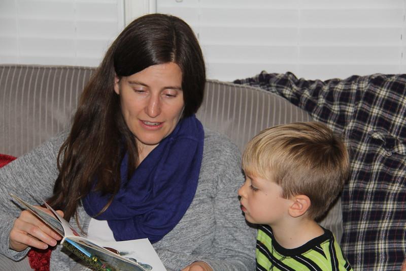Lauren reads to Elliot