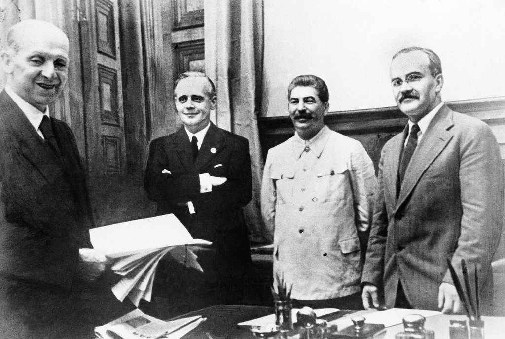 . 1939: Joseph Stalin. This was the scene in Moscow,  August 23, 1939 after representatives of Nazi Germany and Soviet Russia signed a ten-year non-agression pact. Shown from left to right are: Vyachesloff Molotov, Joseph Stalin, Joachim von Ribbentrop and Friedrich Gaus. Molotov signed for Russia and von Ribbentrop for Germany...(AP Photo)