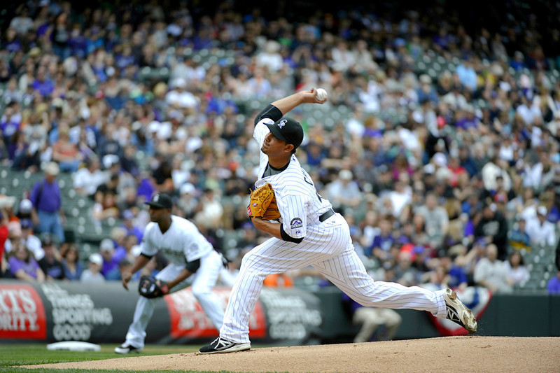 . Colorado Rockies pitcher Jhoulys Chacin (45) delivers a pith in the first inning against the San Diego Padres April 7, 2013 at Coors Field. (Photo By John Leyba/The Denver Post)