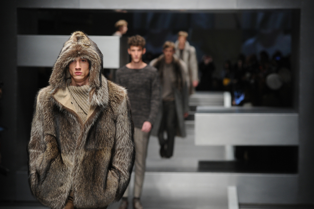 Description of . A model walks the runway during the Fendi  show as part of Milan Fashion Week Menswear Autumn/Winter 2013 on January 14, 2013 in Milan, Italy  (Photo by Pier Marco Tacca/Getty Images)