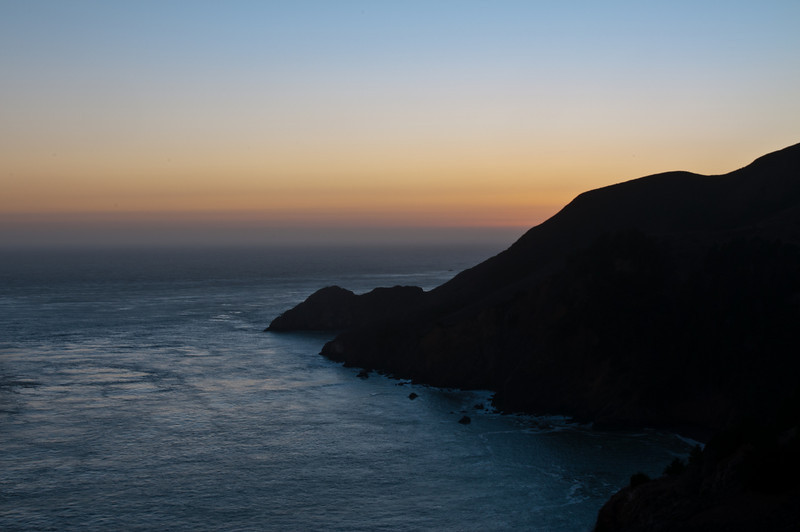 View of Marin Headlands, taken from the Golden Gate Bridge at Sunset.