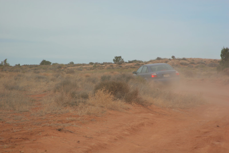 Off to the first slot canyons - we let the Audi go ahead to smooth out any bumps in the sand.