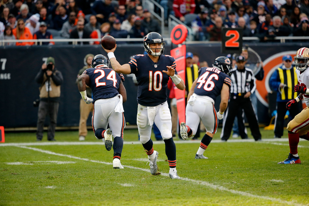 . Chicago Bears quarterback Mitchell Trubisky (10) throws during the second half of an NFL football game against the San Francisco 49ers, Sunday, Dec. 3, 2017, in Chicago. (AP Photo/Charles Rex Arbogast)