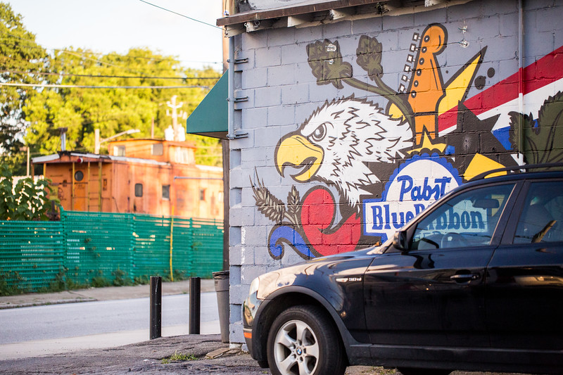 At the corner of Howell Mill Road and Brady Ave in the Westside Provisions area is Northside Tavern where branded murals are on all sides of the long-time bar.  (Jenni Girtman / Atlanta Event Photogrpahy)
