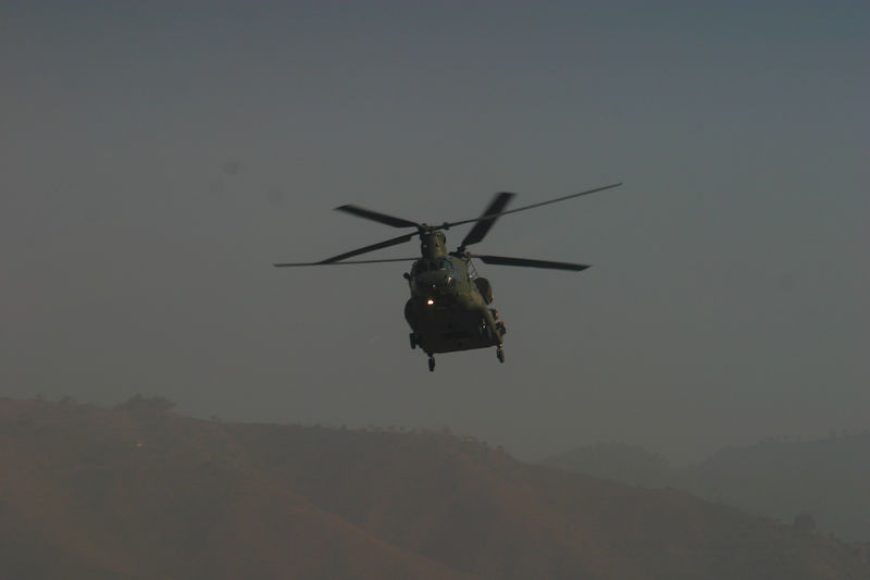 RAF Chinook  coming in for another cargo pickup