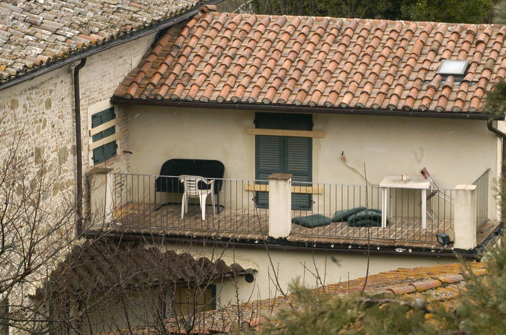. A view of the house with sealed windows where British student Meredith Kercher was found dead in November 2007, on Friday, March, 20, 2009.  (AP Photo/Stefano Medici)