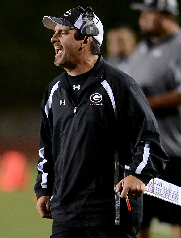 . Glendora head coach Jerry Lewallen in the first half of a prep football game against Los Osos at Citrus College in Glendora, Calif., on Thursday, Oct. 31, 2013.    (Keith Birmingham Pasadena Star-News)