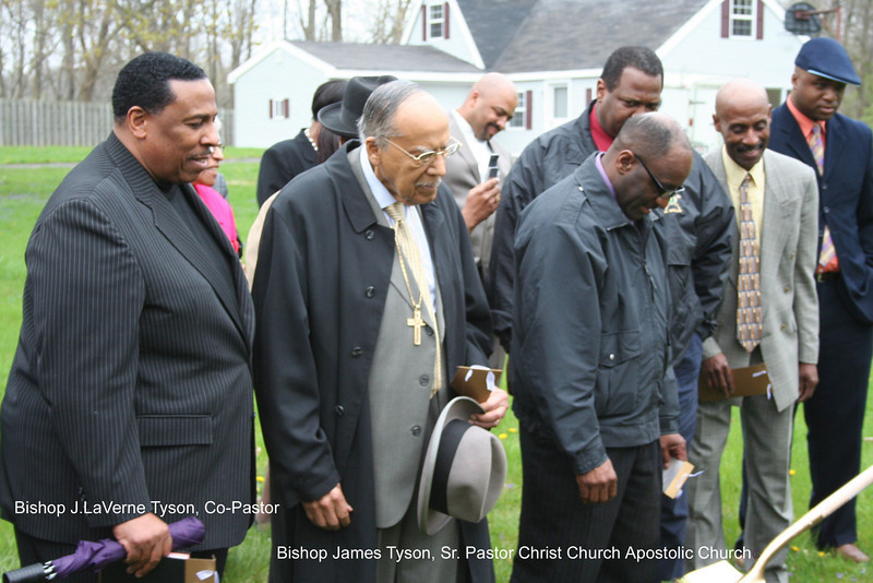 09 04-18 Pastors of Christ Church Apostolic Church along with family members and friends of Hines family attend groundbreaking. cv