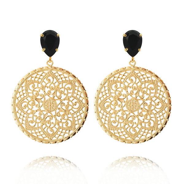 Alexandra Earrings / Jet Gold