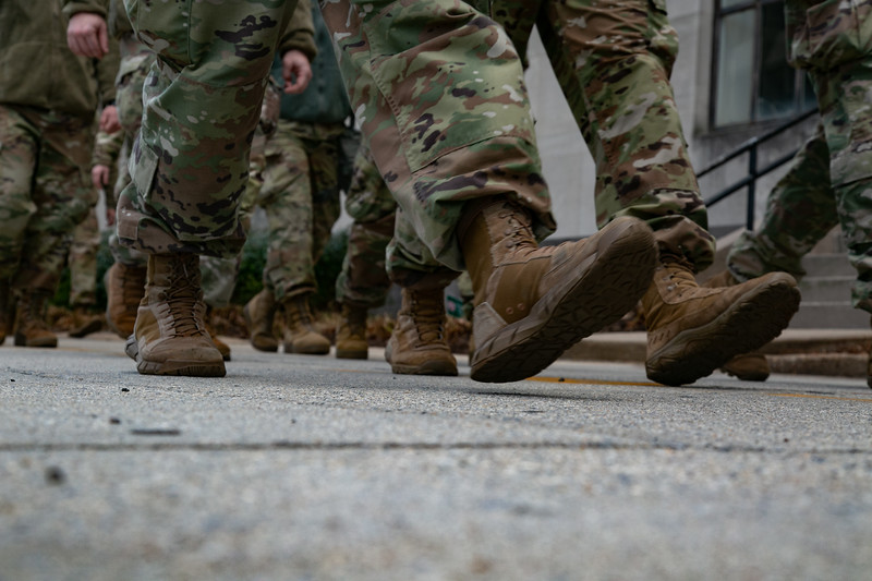 The boots of National Guard troops as they march towards the U.S. Capitol shortly before the start of the inauguration