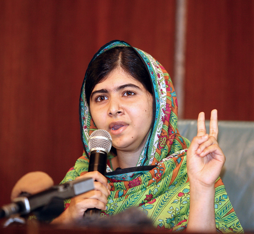 . Picture taken on July 14, 2014 shows Pakistani education activist Malala Yousafzai giving a press conference after meeting with the Nigerian president in Abuja.  . AFP PHOTO  / WOLE EMMANUEL/AFP/Getty Images