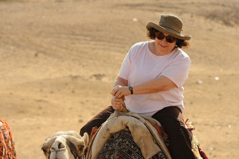 Renee Mirsky on a camel at the Giza Plateau.