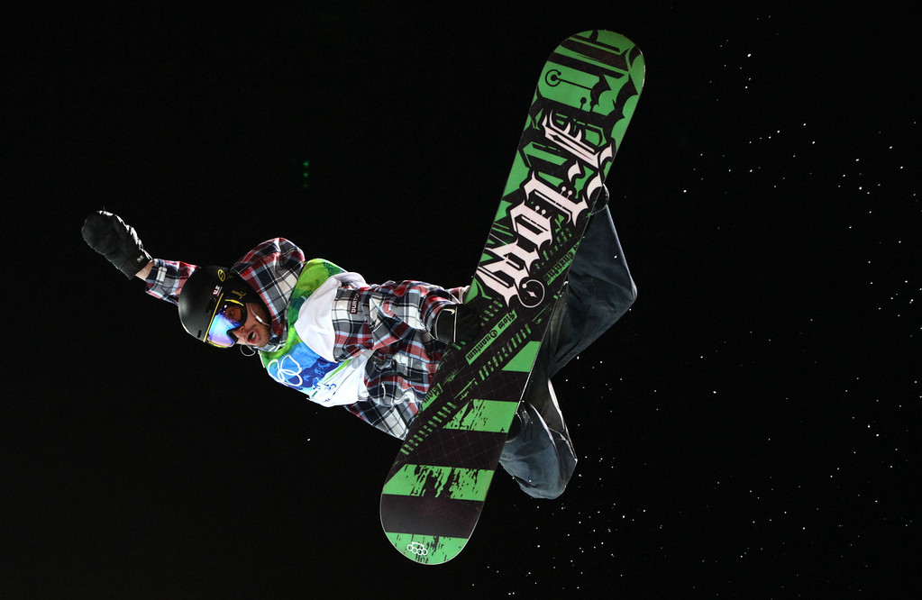 . Scott Lago, of the U.S., soars through the air on his bronze medal winning run during men\'s halfpipe competition at the 2010 Vancouver Olympic Winter Games at Cypress Mountain in West Vancouver, British Columbia, Wednesday February 17, 2010. (AP Photo/The Canadian Press, Darryl Dyck)