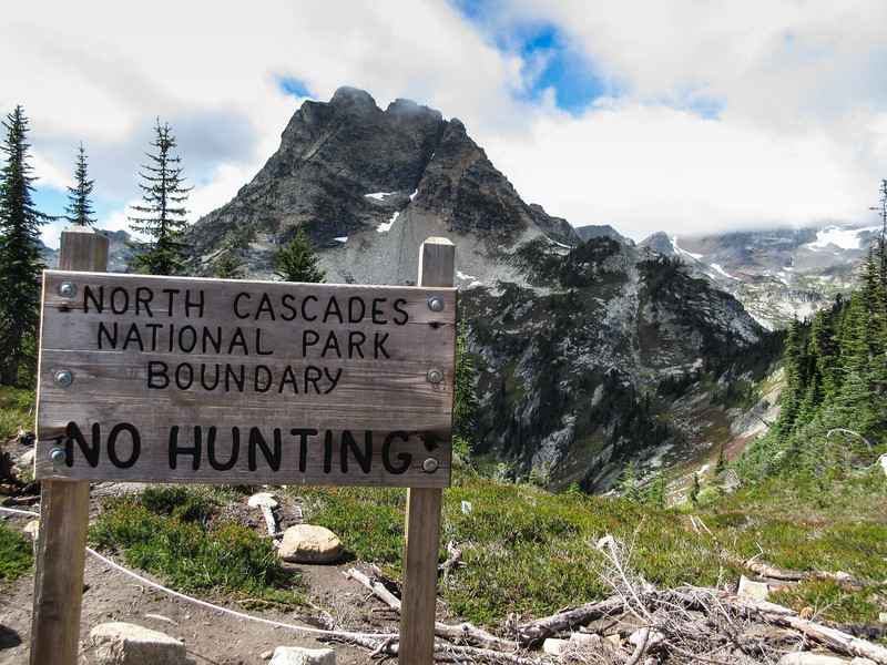 The ridge on which we have been hiking separates North Cascades National Park from the National Forest