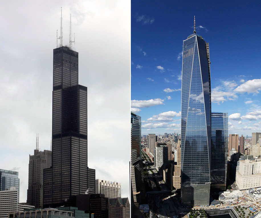 . This combination made from file photos shows Willis Tower, formerly known as the Sears Tower, in Chicago on March 12, 2008, left, and 1 World Trade Center in New York on Sept. 5, 2013. The new World Trade Center tower in New York knocked Chicago\'s Willis Tower off its pedestal as the nation\'s tallest building when an international panel of architects announced Tuesday, Nov. 12, 2013, that the needle atop the skyscraper can be counted when measuring the structure\'s height. (AP Photos/File)