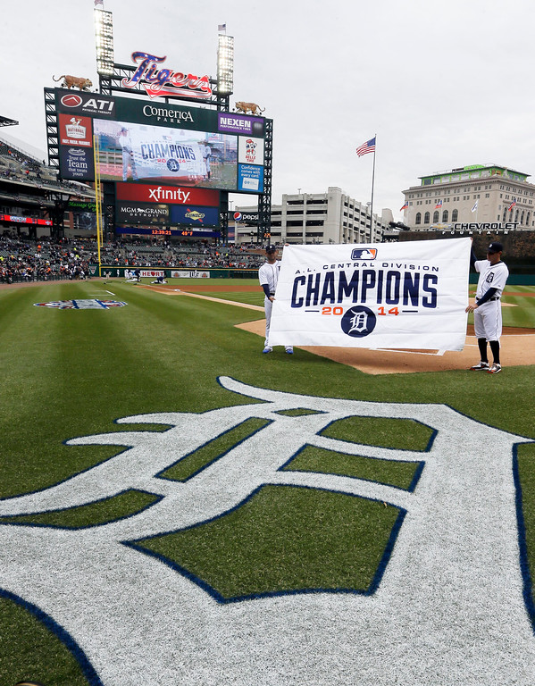 . The American League Championship banner is shown before an opening day baseball game between the Detroit Tigers and the Minnesota Twins in Detroit, Monday, April 6, 2015. (AP Photo/Carlos Osorio)