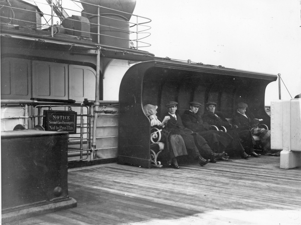 . June 1912:  Passengers on the second class deck of the RMS Lusitania.  (Photo by Topical Press Agency/Getty Images)