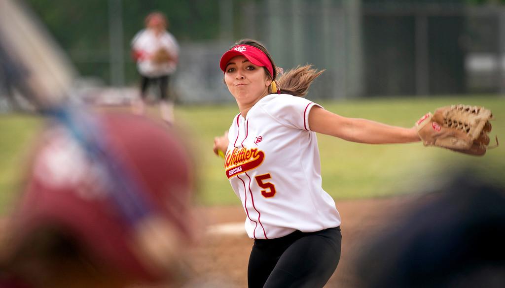 . Whittier Christian High pitcher Hannah Gabriel vs La Serna High at La Serna\'s Whittier campus field March 25, 2014.  (Staff photo by Leo Jarzomb/Whittier Daily News)