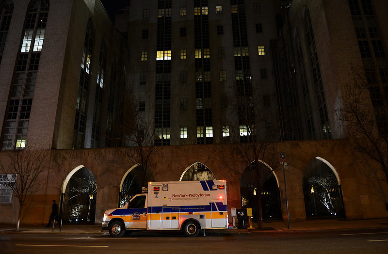 . An ambulance stands in front of New York Presbyterian Hospital in New York, December, 30, 2012.  US Secretary of State Hillary Clinton has been hospitalized after suffering a blood clot following an accident earlier this month, her senior State Department aide Philippe Reines said Sunday. She reportedly is being treated with anti-coagulants at New York Presbyterian Hospital where she is expected to stay for the next 48 hours. EMMANUEL DUNAND/AFP/Getty Images