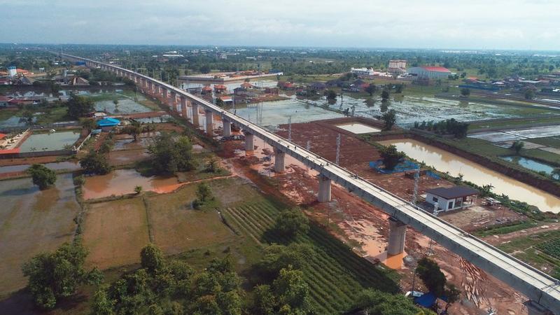 Phonethong bridge under construction in Vientiane, Laos