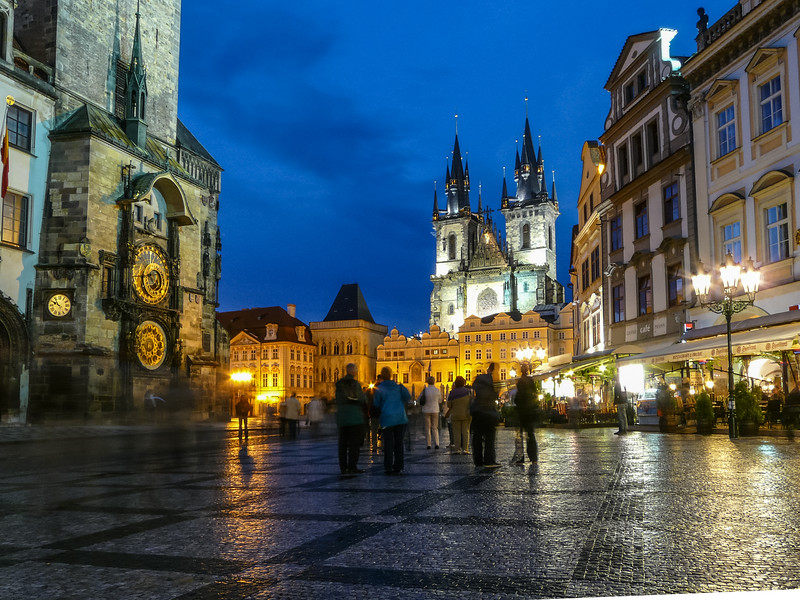 Astronomical Clock and the Týn Cathedral, Prague, Czech Republic