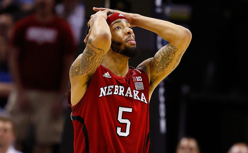. Terran Petteway #5 of the Nebraska Cornhuskers reacts after a play in the second half against the Baylor Bears during the second round of the 2014 NCAA Men\'s Basketball Tournament at AT&T Center on March 21, 2014 in San Antonio, Texas.  (Photo by Tom Pennington/Getty Images)