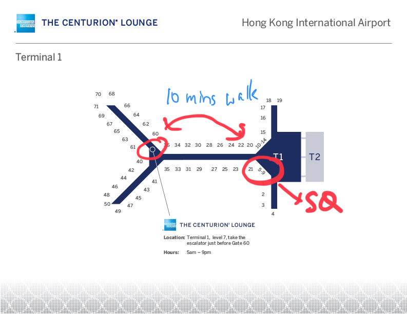 Location of the Centurion Lounge in Hong Kong Airport
