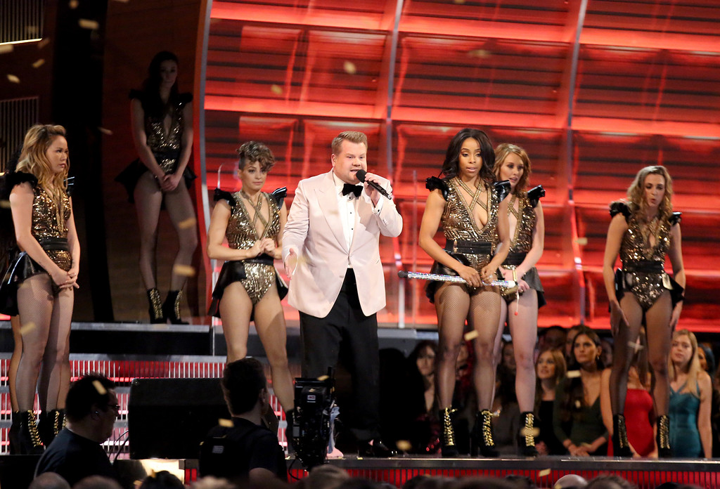 . Host James Corden performs a skit at the 59th annual Grammy Awards on Sunday, Feb. 12, 2017, in Los Angeles. (Photo by Matt Sayles/Invision/AP)