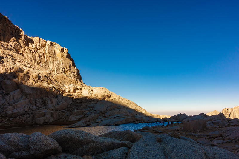 A lake tarn Hi upon the flanks along the trail to the summit of Mount Whitney California