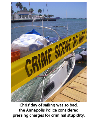 Boat at Dock with Crime scene tape around it, his sailing was that bad