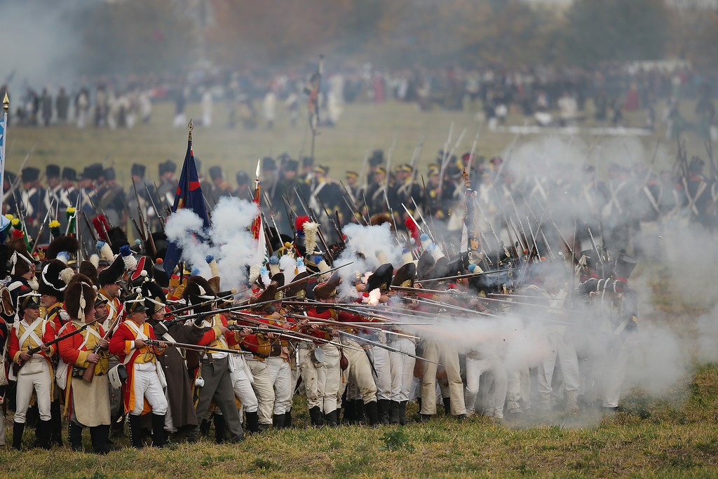 . Historical society enthusiasts in the role of troops loyal to Napoleon fire on the enemy during the re-enactment of The Battle of Nations on its 200th anniversary on October 20, 2013 near Leipzig, Germany. (Photo by Sean Gallup/Getty Images)