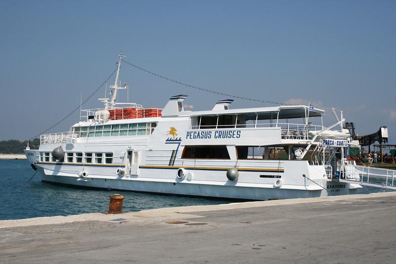Moored in Corfu. Daily cruises around Corfu Island and to Parga Island.