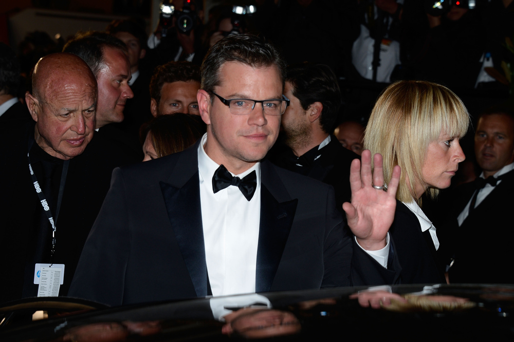 . Actor Matt Damon departs the \'Behind The Candelabra\' premiere during The 66th Annual Cannes Film Festival at Theatre Lumiere on May 21, 2013 in Cannes, France.  (Photo by Pascal Le Segretain/Getty Images)