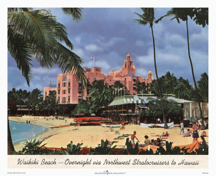 243: 'Waikiki Beach' Airline print or poster, based on Northwest Airlines Postcard. Ca 1955.