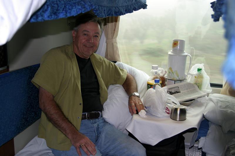 relaxing in my hard sleeper Qinghai -Beijing to Tibet Railway, Beijing to Lhasa  Oct  2006