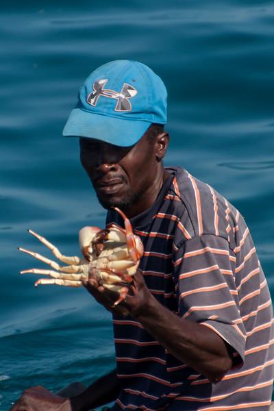 Fisherman with crab - Labadee, Haiti