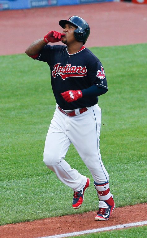 . Cleveland Indians\' Jose Ramirez rounds the bases after hitting a solo home run off New York Yankees starting pitcher CC Sabathia during the first inning of a baseball game, Saturday, July 14, 2018, in Cleveland. (AP Photo/Ron Schwane)