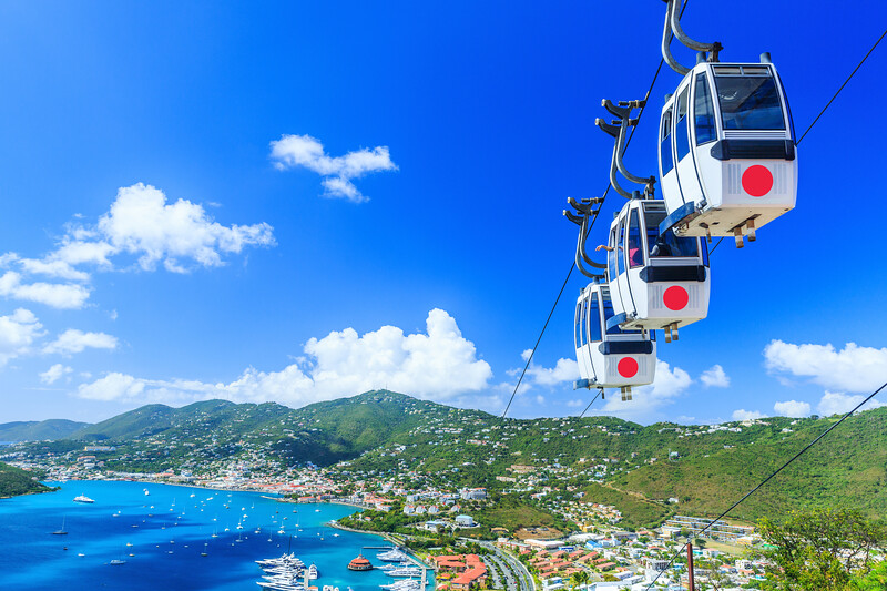 Caribbean, St. Thomas, USVI. Cable car at Heavensight in Charlotte Amelie