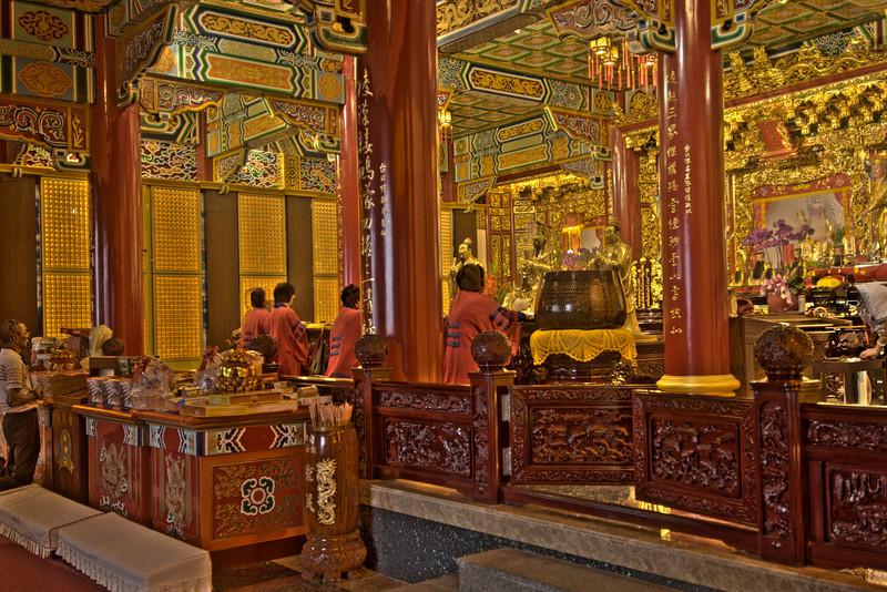Worshippers inside Zhinan Temple HDR 3 - Taipei, Taiwan