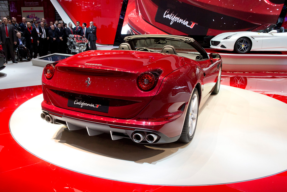 . The New Ferrari California T is shown during the press day at the 84thGeneva International Motor Show in Geneva, Switzerland, 04 March 2014. CarPlay gives iPhone users the opportunity to make calls, use Maps, listen to music and access messages by voice or touch. The Motor Show will open its gates to the public from 06 to 16 March presenting more than 250 exhibitors and more than 146 world and European premieres.  EPA/SANDRO CAMPARDO