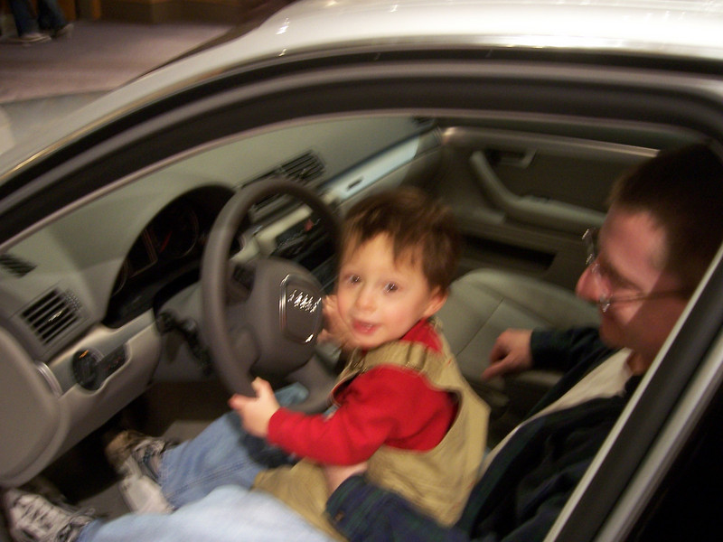 Sean teaching Ethan how to drive at the Philly Auto Show. (Feb 2007)