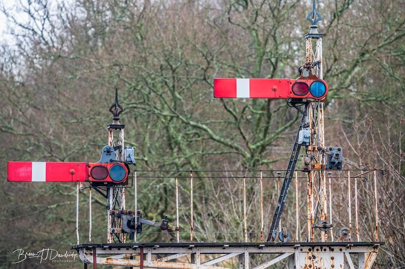 A signal gantry at Horsted Keynes