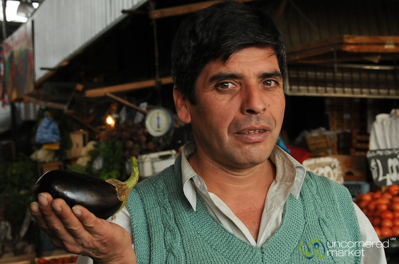 Curious Vendor at La Vega Market - Santiago, Chile